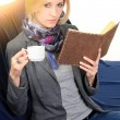 Woman with notebook. close up — Stockfoto