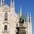 Milan Cathedral and monument to king Vittorio Emanuele II — Stock Photo #6877714