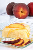 Heart shaped peach bavarian cream — Stock Photo