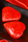 Two red heart shaped cakes — Stock Photo
