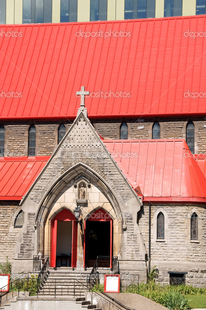 St. John the Evangelist Anglican Church, commonly known as the red roof church is a fine example of Neo-Gothic building from the Victorian era.  Stock Photo #6876941