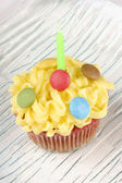 Fancy birthday cupcake — Stock Photo