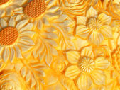 Floral bas-relief on pumpkin — Stock Photo