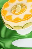 Lime and orange bavarian cream (bavarese) — Stock Photo