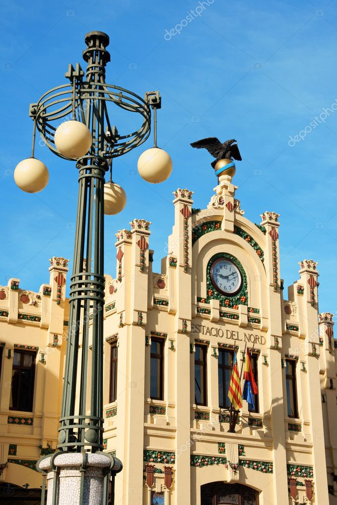 Detail of Estacio del Nord or north train station in Valencia, Spain.  Stock Photo #7814355