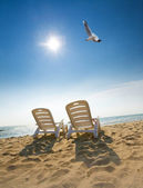 Two chairs on the beach — Stock Photo