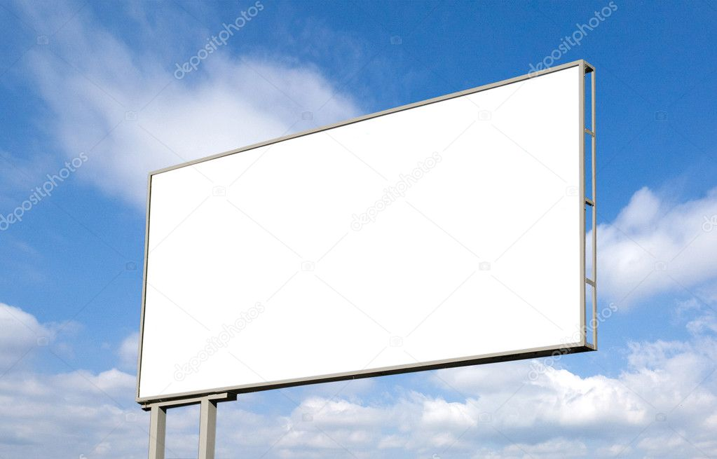 Blank billboard against blue sky, put your own text here — Stock Photo #7284052