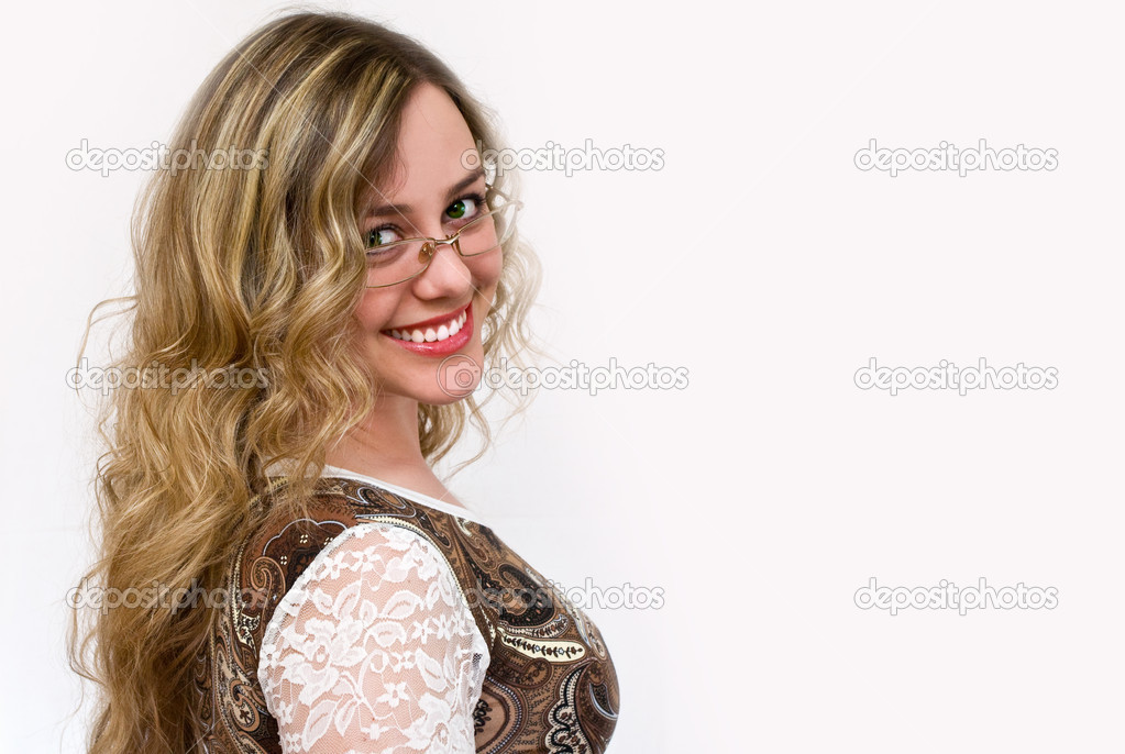 Portrait of lovely attractive girl in glasses  Stock Photo #7866563