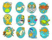 Funny colour zodiac symbols — Stock Vector