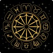 Gold zodiac symbols on black - Stock Vector