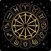Gold zodiac symbols on black — Stock Vector