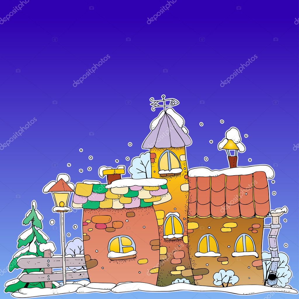 Houses on a fairy evening winter background with place for your text  Stock Vector #7446873