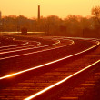 Mainline Railroad Track at Dawn - Stock Photo