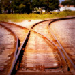 Railyard  Track at Dawn - Stock Photo