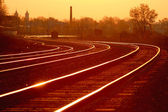 Mainline Railroad Track at Dawn — Stock Photo