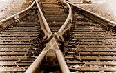 Railyard Trackage in Sepie — Stock Photo