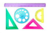 Clear Plastic Ruler and Shapes — Stock Photo