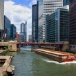 River Barge Downtown Chicago - Stock Photo