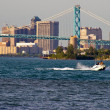 Detroit Skyline on Detroit River — Stock Photo
