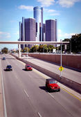 Traffic Downtown Detroit — Stock Photo