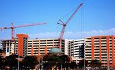 Crane Booms Construction Site Detroit — Stock Photo