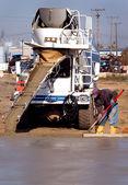 Cement Floor Pour Construction Site — Stock Photo