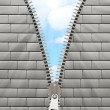 Closeup of Metal Zipper in white brick wall — Stock Photo