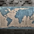 Stock Photo: Dark Metal Plate With Old Grunge World Map