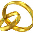 Golden Wedding Rings Isolated on white background — Stock Photo