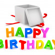 Happy Birthday Text with Gift Box on white background — Stock Photo