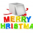 Merry Christmas Text with Gift Box on white background — Stock Photo