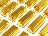 Golden Bars on white background — Stock Photo