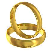 Zlaté snubní prsteny izolovaných na bílém pozadí — Stock fotografie