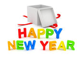 Happy New Year text with opened gift box on white background — Stok fotoğraf