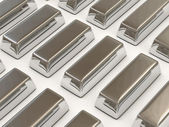 Silver Bars on white background — Stock Photo