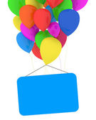 Multicolor Balloons with Empty Blank on white background — Stock Photo