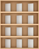 3D illustration of books on shelves — Stock Photo