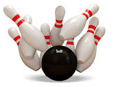 3d Bowling Ball crashing into the pins on white background — Stock Photo