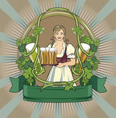 Beer waitress, beer label — Stock Vector