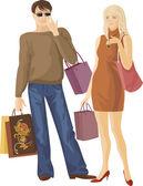 Shopping boy and girl — Stock Vector