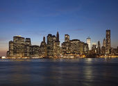 The New York City in the evening with the Freedom tower — Stock Photo