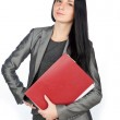 Young businesswoman with folders — Stock Photo