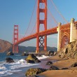 Golden Gate Bridge in SFrancisco during sunset — Zdjęcie stockowe #7560767