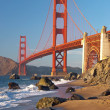 The Golden Gate Bridge in San Francisco during the sunset — 图库照片