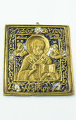 Russian icon ancient brass — Stock Photo