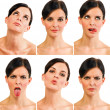 Group of portraits - six different expressions - Stock Photo