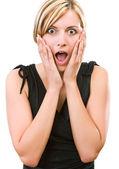 Jovem mulher mostrando sua surpresa — Fotografia Stock