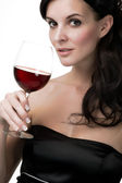 Woman with red wine — Stock Photo
