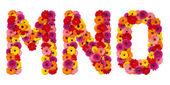 Letra m o n - alfabeto flor aislado en blanco — Foto de Stock