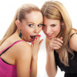 Stock Photo: Two young woman wispering secrets
